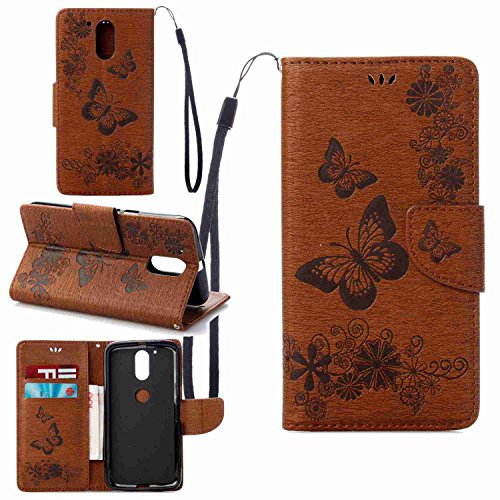 pinlu Cover For Lenovo Moto G4 Plus (5.5 inch) PU Leather Flip Stand Wallet Cover Case With Credit Card Slot Embossed Big Butterfly Brown