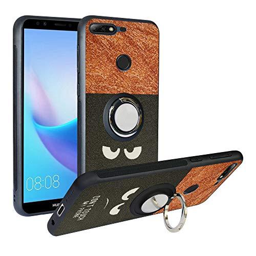 Alapmk Hülle Huawei Y7 2018/Honor 7C/Y7 Prime 2018/Enjoy 8 Handyhülle mit Ringhalter [Magnetic Car Mount], TPU Handyhülle Stoßfest Hülle,Do not Touch