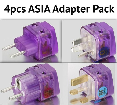 NEW! 4 Pieces ASIA TRAVEL ADAPTER Pack for MOST countries in ASIA; CHINA THAILAND MALAYSIA SOUTH KOREA SINGAPORE INDONESIA PHILIPPINES VIETNAM LAOS CAMBODIA BURMA HONG KONG MACAU and more / WITH DUAL PLUG-IN PORTS AND BUILT-IN SURGE PROTECTORS