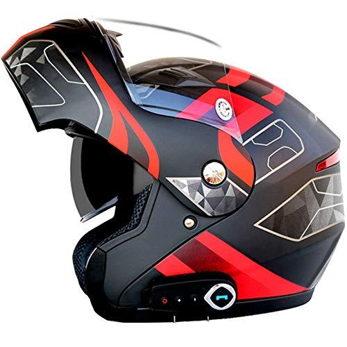 ZHEN Casco Bluetooth para Motocicleta, Modular, Integral, Bluetooth, Impermeable, Casco para Motocicleta, Bluetooth Integrado, Cascos para Motocicleta con visores duales antivaho, Radio FM, Conte