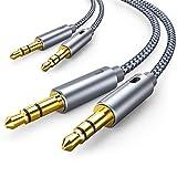 オーディオケーブル 3.5mm AUXケーブル 1.2m 2本 オスオス ステレオミニプラグ ヘッドホンケーブル Hi - Fi 車、iPod iPad、スピーカー対応(2本, グレー)