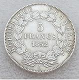 Bespoke Souvenirs Rara Antiguo Antiguo Europeo Francés Francia 1852 Año A Louis Napoleón Bonaparte Restrike 5 Francs Gran Plata Color Moneda