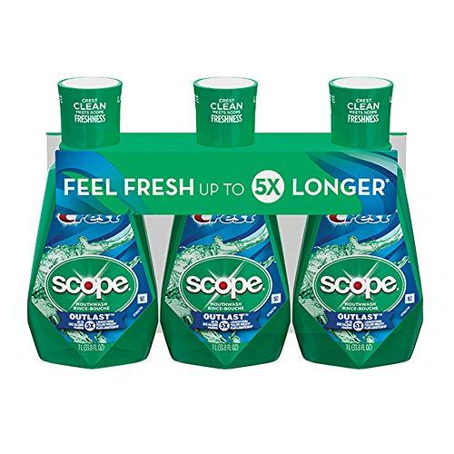 Crest Scope Outlast Mint Mouthwash 33.8 Fl Oz, 3 pk./1L