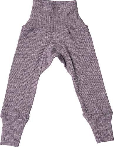 Cosilana Baby Hose - lang mit Bund Seide/Wolle/Baumwolle 50/56 Uni Pflaume 23