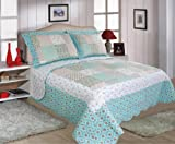 Quilted Patchwork Design Bedspreads - Annie - Turquoise - Floral (KING SIZE 260CM X 260CM) by Luxury Home Linens