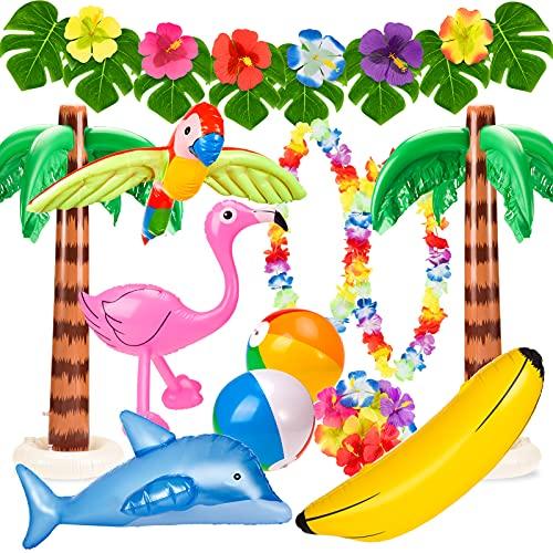 Whaline 31pcs Hawaiian Party Toys Set Inflatable Flamingo Palm Trees Beach...