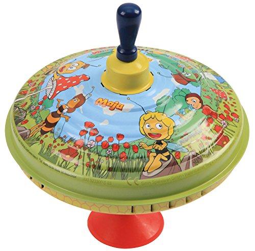 Bolz 52330 - Brummkreisel Biene Maja, Ø 19 cm, Blech Schwungkreisel, Musikkreisel erzeugt mehrstimmige Töne, Spielzeugkreisel für Kinder ab 1,5 Jahre, Blechkreisel aus Metall mit Bienchen Maya Motiv