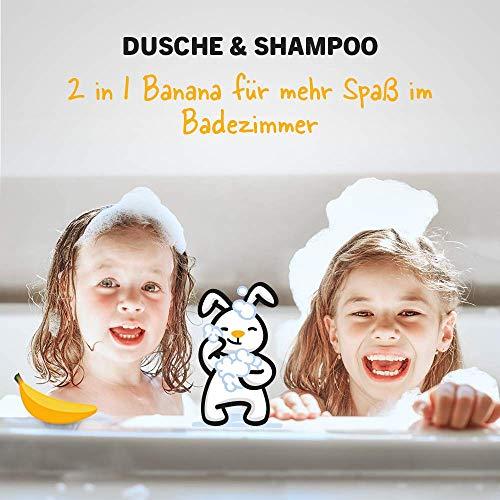 sanosan 2in1 Dusche & Shampoo Banane für Kinder - Duschgel & Haarshampoo mit Bio Olivenextrakt & Milchprotein im 2er Pack (2x 400 ml) - Haarpflege, Hautpflege, Shower Gel, Haar Shampoo