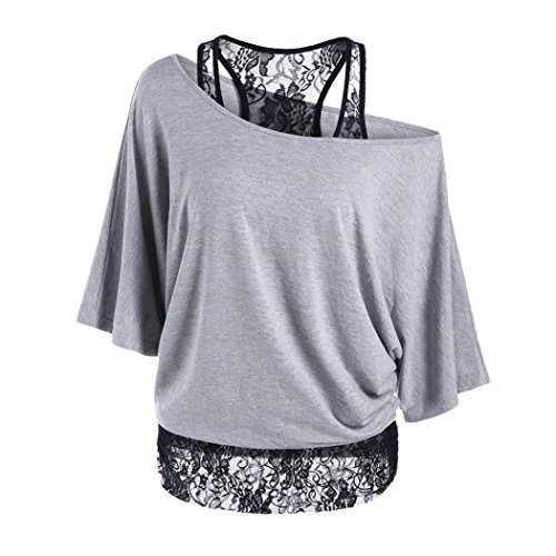 MORCHAN Les Femmes à Manches Courtes Hauts Talons imprimés Tops Plage Casual lâche Blouse Top T Shirt (L, Gris)