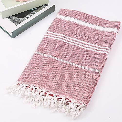 Wankd Premium Strandtuch aus 100% Baumwolle   Badetuch   Handtuch   Yoga   Peshtemal   Sauna Tuch   Hamam Tuch   leicht, dünn & extra saugstark   100x180CM (Rot)