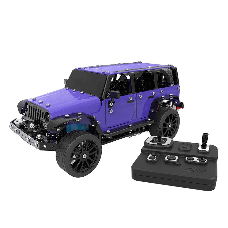 INKPOT ブロック ラジコンカー ジープ 3D立体パズル 2.4G 6CH無線操作 知育玩具 模型 RCカー 組み立て モデル DIY手作り 電動おもちゃ 車 贈り物 誕生日 コレクション 飾り物 創意プレゼント 紫色 JEEP