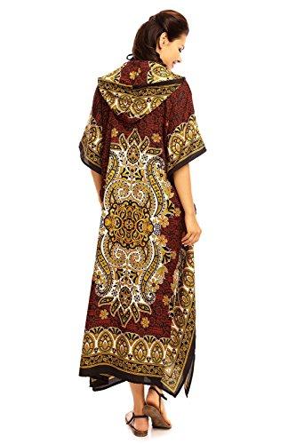 Looking Glam Damen voll Länge überdimensional Maxi Kimono Tunika mit Kapuze Kaftan Kleid- Gr. 52-54 (Etikettgröße: 31), Schwarz