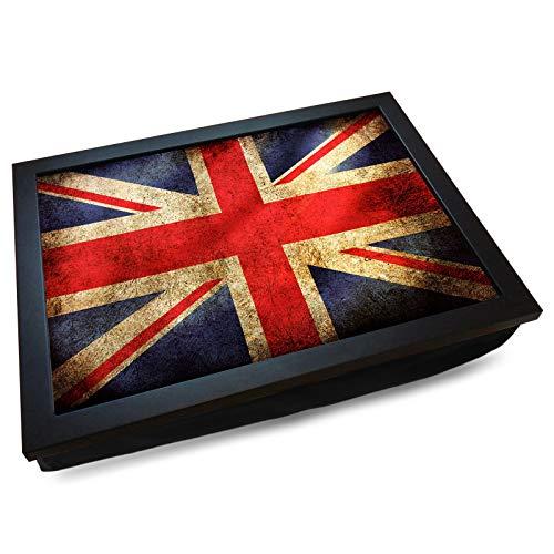 Deluxe Cushioned Lap Tray | Union Jack Flag (Grunge/Vintage) | Wooden Frame | Bean Bag Cushion Base | #AA