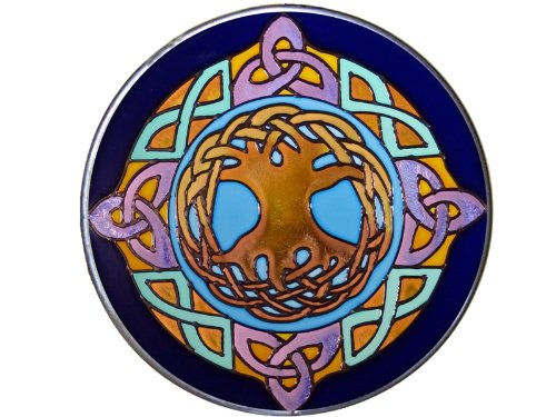 Celtic Tree of Life 10' Diameter Blue/Purple Art Glass Stained Glass Piece