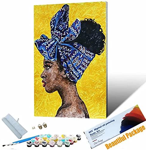 Vfvozr Tenwind Pintar por números Retrato de Mujer Africana para Adultos DIY Paint by Numbers Pintura por Números con Pinceles y Regalo 40x50cm Sin Marco