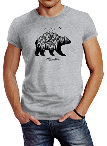 Neverless Herren T-Shirt Bär Abenteuer Berge Wald Bear Mountains Adventure Slim Fit grau M