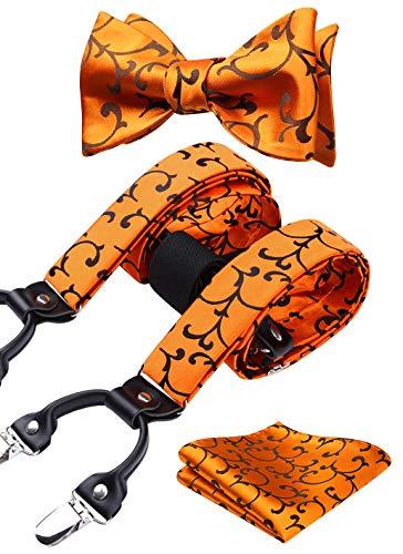 HISDERN Bretelles Homme 6 clips Brace ajustables élastiques Noeud papillon mouchoir