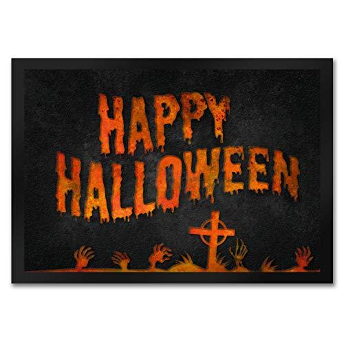 trendaffe - Happy Halloween Fußmatte mit Friedhof Motiv Zombie Untoter gruselig Grab Monster