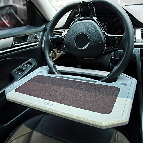 TICARVE Steering Wheel Desk Portable Car Steering Wheel Tray Truck Steering Wheel table Multifunctional Auto Car Desk Table for Laptop Food Fits Most Vehicles