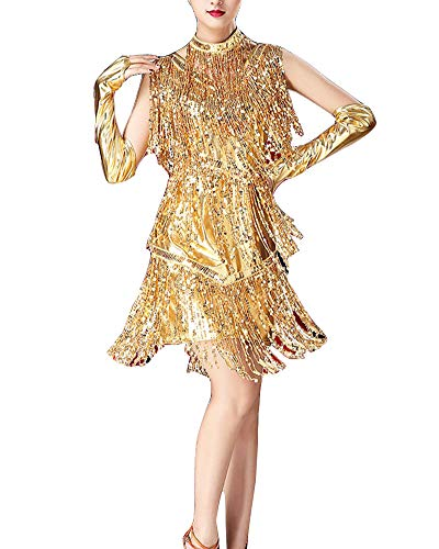 YAOTT Damen Latin Dance Ärmellos Tanzkleid Glänzend Paillette Tanzkleidung Kleid Rumba Cha Cha Tango Samba Latein Fasching Party Kleid Gold XL