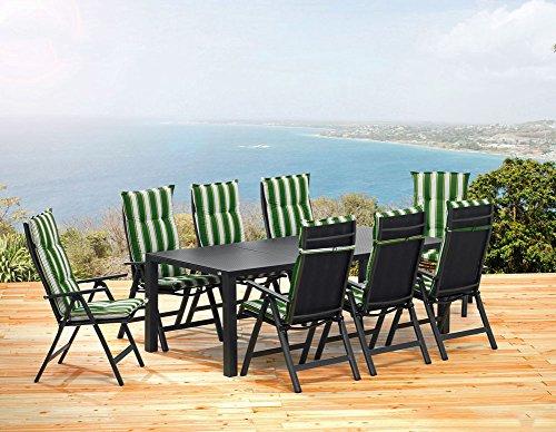 1 mesa de jardín de 220 cm, 8 sillas plegables Sun Garden London.
