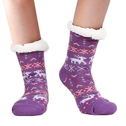 Gemijack Womens Warm Fuzzy Socks Funny Reindeer Slipper Socks Cute Christmas Knit Non Slip Long Socks