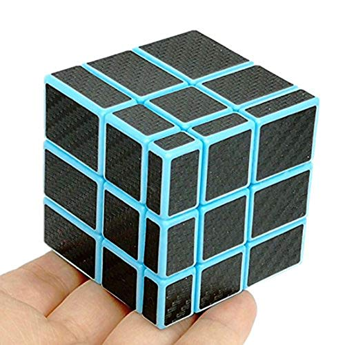cuberspeed Fangge Mirror Blue with Black Carbon Fiber Stickers 3x3 Magic Cube Mirror Blocks Blue Speed Cube