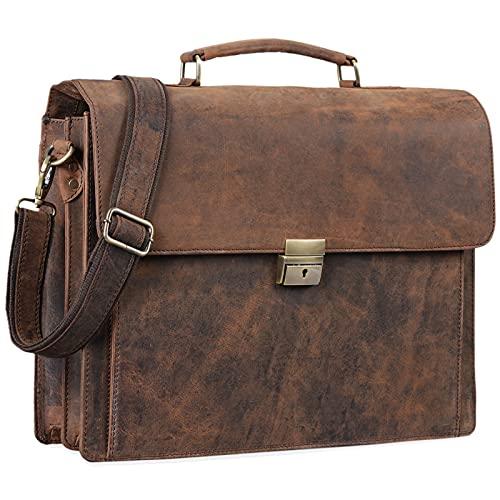 STILORD 'Johann' Klassische Aktentasche Herren Damen Businesstasche für 15,6 Zoll Laptop passend für große DIN A4 Ordner mit Schloss Rinds Leder, Farbe:Sepia-braun