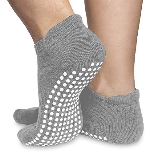 Skyba Anti Rutsch Socken Stoppersocken Noppensocken für Damen- Grips für Barre, Pilates, Yoga, Schwangerschaft, 2-paar Grau, EU 37-39 (Herstellergröße: M)