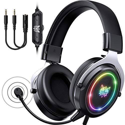ONIKUMA Cascos Gaming PC Headset -  Auriculares Gaming con Cicrofono Extraíble con Luz RGB con Cable 7.1 Sonido Envolvente Cascos Gamer para ps4 ps5 Xbox PC Mac (Plata)
