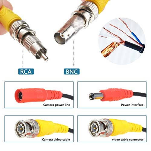 BNC Cables 25ft, Flashmen 4 Pack HD Security Camera Cables Heavy Duty BNC Video Power Cable BNC Wire Extension with BNC to BNC, BNC to RCA Connectors, DC Power Cables (25FT 4PACK)