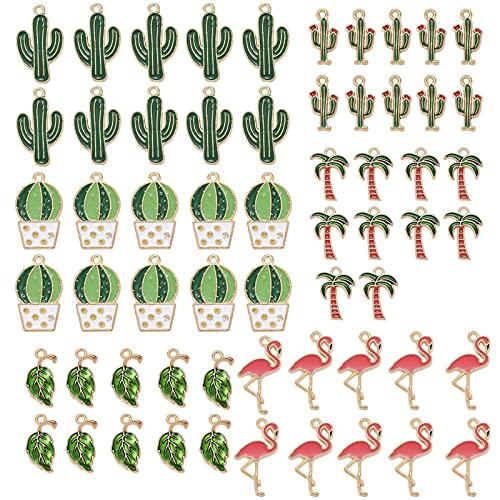 BEEFLYING 60 Uds, Colgantes de Abalorios de Esmalte de Plantas Mixtas para Hacer Joyas, Colgantes de Dijes de Esmalte Chapados En Oro para Collares, Pulseras, Proyectos de Bricolaje