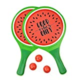 Legami Spiaggia, Tema: Watermelon, Impugnatura ergonomica, Include: 2 Racchette e 3 Palline, Misure: 23 x 38 x 0,7 cm, Materiale: MDF, PVC Balls, Custodia inclusa, Colore, BR0002
