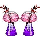 DXQDXQ Crystal Set of 2 Copas de Cóctel Vaso de Whisky Creativa 280ML Forma de Hongo Cristal Juego de Vino Mojito Transparente sin BPA para Fiesta Bar Casa Restaurantes Hotel Cristalería
