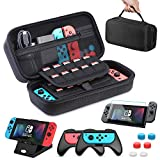 HEYSTOP Étui pour Nintendo Switch, 11 en 1 Étui de Transport pour Nintendo Switch, 2X Grip pour Joy-Con Nintendo Switch, Support de Jeu Ajustable, Protection écran Switch et 6 Thumb Grips
