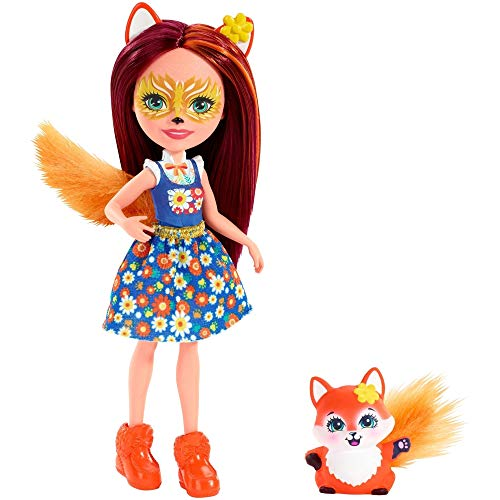 Enchantimals FXM71 - Fuchsmädchen Felicity Fox Puppe und Tierfreund Flick, mehrfarbig