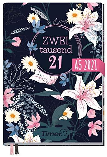Chäff-Timer Classic A5 Kalender 2021 [Dark Flower] mit 1 Woche auf 2 Seiten | Terminplaner, Wochenkalender, Organizer, Terminkalender mit Wochenplaner | nachhaltig & klimaneutral