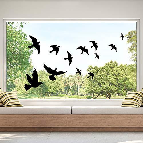 Vogel Fensteraufkleber zum Schutz vor Vogelschlag - 24 Blatt Schwalbe Glassticker, doppelseitig und selbstklebend