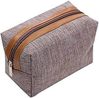 SODIAL Brown Women Men Travel Cosmetic Bag Multifunction Zipper Small Makeup Toiletry Bag Organizer Case Make Up Wash Pouch
