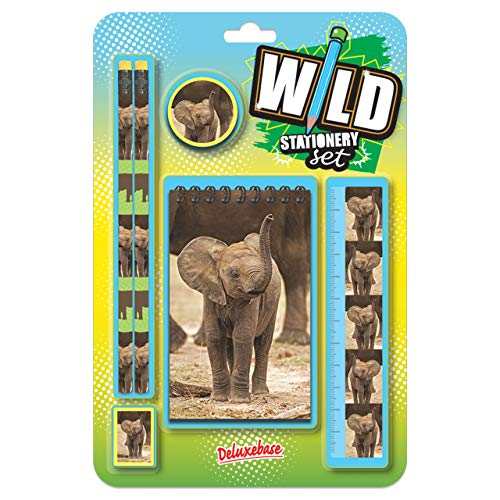 Wild Stationery Set - Elefant von Deluxebase. Diese niedlichen Stationären Schulsets für Mädchen enthalten 2 Bleistifte, Radiergummi, Spitzer, Lineal und Notizbuch