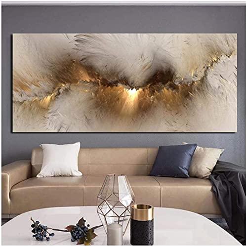 XIAOMA Wolken Abstrakt Leinwand Wandbild Kunst, Druck Rauch Muster Linien Wellen Schlafzimmer Wohnzimmer Wanddekoration Design (60x90cm)