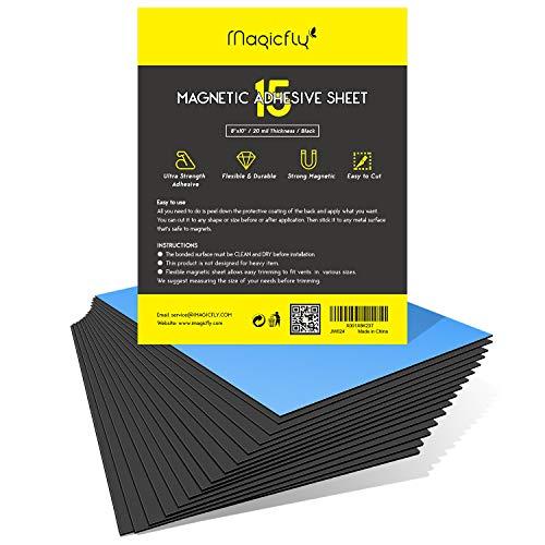 Magicfly Foglio Magnetico Adesivo Flessibile 0,5 mm, Magneti Autoadesivo per Foto, Fai-da-Te, 20x25cm(8'x 10'), 15 Pezzi