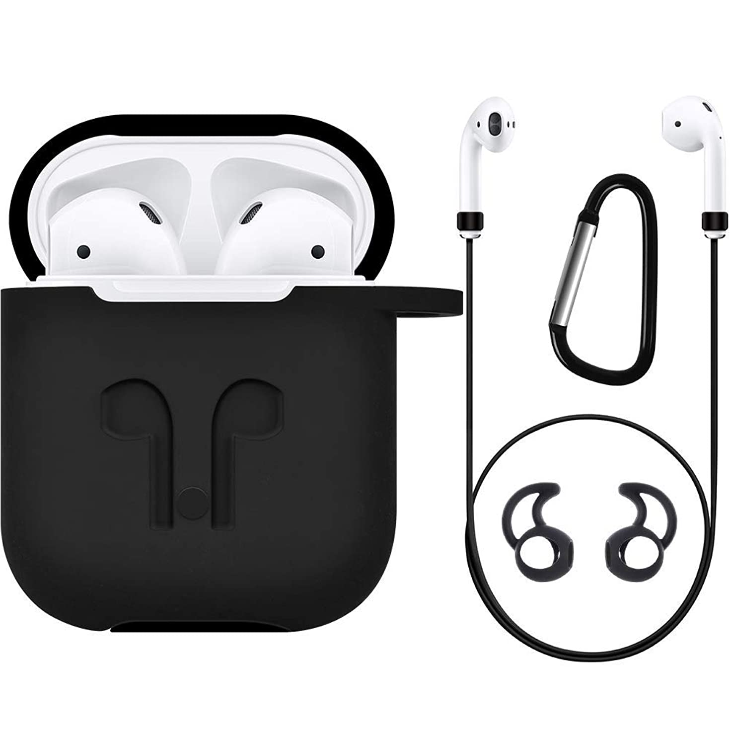 AirPods Case Airpods Accessories Kits Protective Silicone Cover and Skin for Apple Airpods Charging Case with Airpods Ear Hook Grips/Airpods Staps/Airpods Clips/Skin/Tips/Grips (Black)