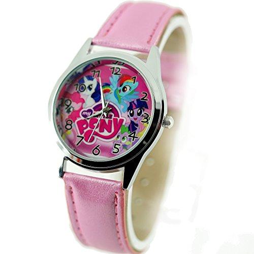 Taport Reloj de cuarzo dial de color rosa con diseño de My Little Pony de Disney, incluye correa de cuero rosa, pila de repuesto y una bolsa de regalo