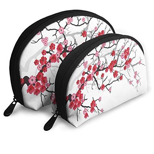 Ensemble de Sac de Maquillage en Forme de Coquille, Sac à Main Portable, Pochette cosmétique, Fleur de Sakura de Plante Japonaise avec Art de Toile de Fond Abstrait, Pochette de Toilette pour Femme