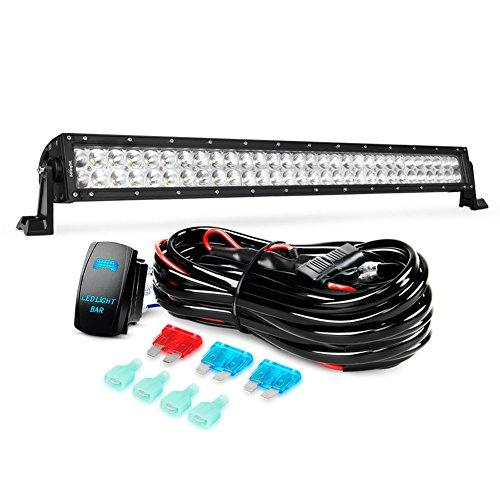 Nilight LED Light Bar 32Inch 180W Spot Flood Combo Led Off Road Lights 12V 5Pin Rocker Switch LED Light Bar Wiring Harness Kit, 2 Years Warranty (ZH079)