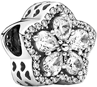 Pandora - Ciondolo a forma di fiocco di neve, in argento Sterling, 10,6 x 12,4 x 12,4 mm (profondità x altezza x larghezza)