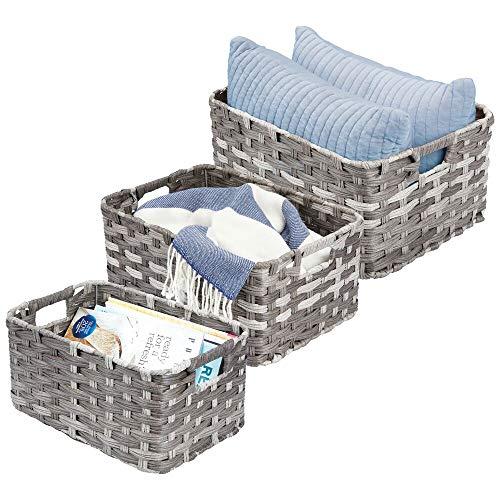 mDesign cestas de almacenamiento de cuerda trenzada rectangular con asas – para organizar clóset, recámara, baño, sala de estar,...
