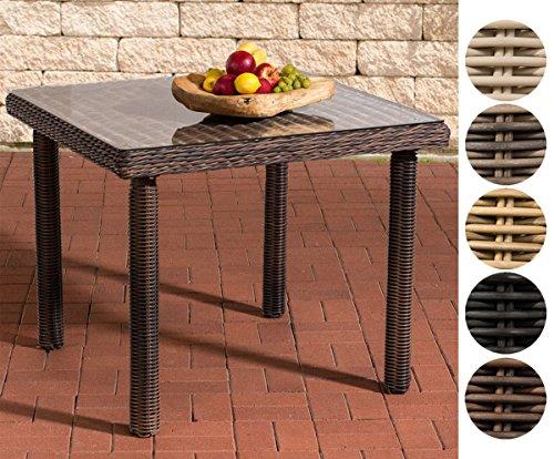 CLP Polyrattan-Gartentisch Puerto RICO mit Einer Tischplatte aus Glas I Wetterbeständiger Tisch aus Polyrattan I Größen erhältlich Rattanfarbe: Braun-meliert, 90 x 90 cm