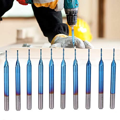 Spiralfräser, 10PCS Wolframstahl Blau Galvanisieren Spiralfräser Hochhärter Fräser mit Blaue galvanisierte Beschichtung 3,175 x 22 mm
